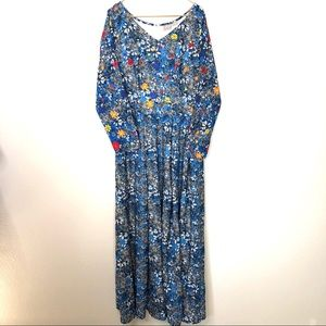 eShakti floral maxi dress fit & flare long sleeve